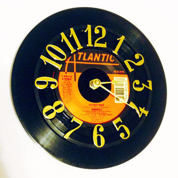 Vinyl Record Clock, Record Clock, Wall Clock, Genesis Record, Recycled Record, Upcycle, Battery & Wall Hanger included, Item 81