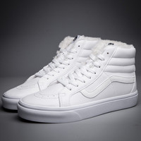 Trendsetter Vans SK8-Hi Leather Warm Cotton Old Skool Flats Sneakers Sport Shoes