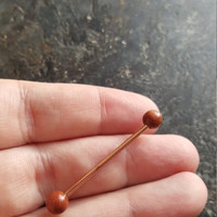 Goldstone - Rose Gold Ion Plated (1 ONE Barbell) 14G (1.6mm) Industrial Barbell Scaffold Piercing Jewelry