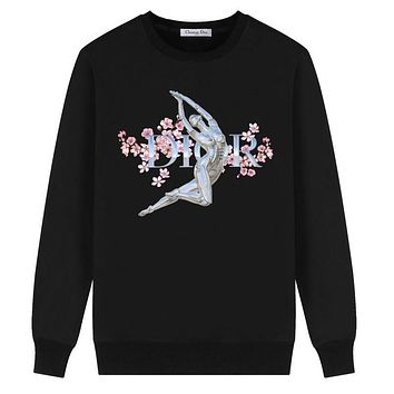 Dior Autumn And Winter New Fashion Letter Floral Print Women Men Long Sleeve Top Sweater Black
