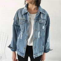 Denim Fashioned Ladies Distressed Jacket