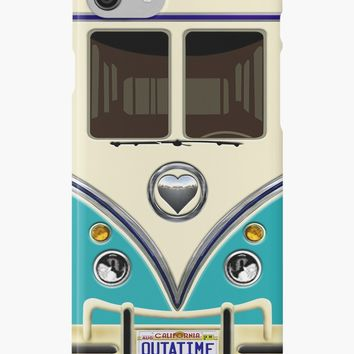 'kawaii Blue teal love bug mini bus' iPhone Case/Skin by NadiyaArt