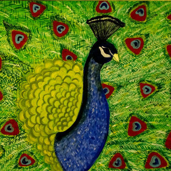 New year gift sale! Original Abstract modern painting, Peacock wall decor, Colorful bird painting