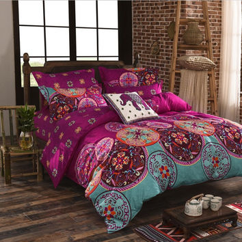 bohemia 4pc 3d comforter bedding sets Mandala duvet cover set winter bedsheet Pillowcase queen king size 100% Cotton Bedlinen