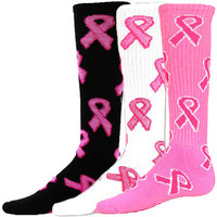 Breast Cancer Awareness Pink Ribbons Knee High Tube Socks available in 3 Colors