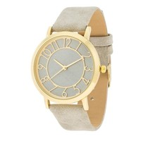 Gold and Grey Leather Strap Watch - Light Grey