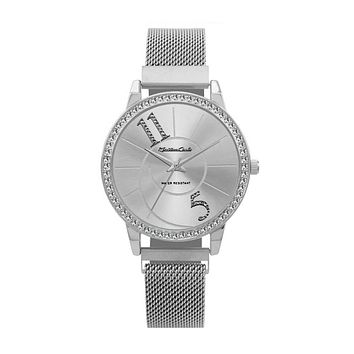 Sterling Montres Carlo Silver Stainless Steel Mesh Band Watch