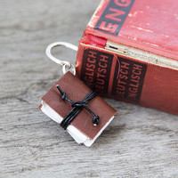 Book bookmark book mark, leather bookmark miniature book charm, page holder page marker recycled bookmark book accessories reader book lover
