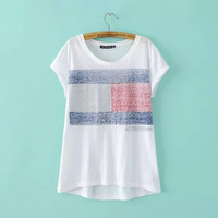 White Danish Flag Print T-shirt