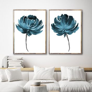 WATERCOLOR FLOWER Wall Art, Watercolor Floral Bedroom Wall Decor, Teal Floral Minimalist Artwork Set of 2 Floral Canvas or Prints Pictures