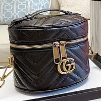 GUCCI Fashion New Leather Shoulder Bag Crossbody Bag Handbag Bucket Bag Black
