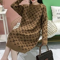 LV Louis Vuitton thick sweater women loose mid-length low round neck alpaca fleece skirt