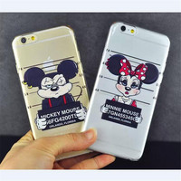 For iPhone 5s/6/6S Arrested Mickey Minnie Mouse Goofy Goof Dog Cartoon Case Transparent for Apple iPhone 5s/6/6s Hard Cover P109