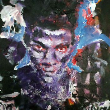 Painting of Jean Michel Basquiat Boxing Gloves - Unique Pop Art Painting - Basquiat Memorabilia Art - Accent Art - Original Handpainted Art