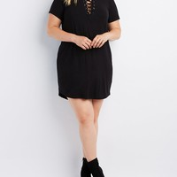 Plus Size Ribbed Lace-Up T-Shirt Dress