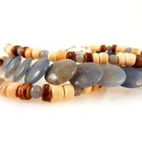 Triple Strand Boho Stacking Bracelet Blue Agate and Wood Beads with Toggle Clasp Plus Sized 8 Inch