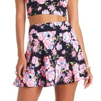 High-Waisted Floral Print Skater Skirt by Charlotte Russe - Navy Blue
