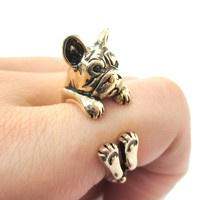 Grumpy French Bulldog Dog Shaped Animal Wrap Around Ring in Shiny Gold | US Sizes 4 to 8.5