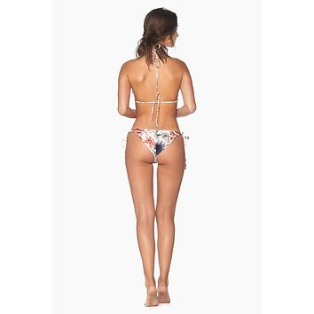 String Tie Side Bikini Bottom - Abloom Malaila Tropical Print