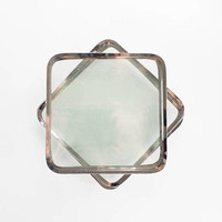Silver Rim Glass Appetizer, Luncheon or Cocktail Plates - Set of 10 Square Glass Plates