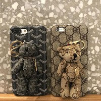 Gucci / Goyard Bear PU Mobile Phone Shell iPhone Phone Cover Case For iphone 8 8plus iPhone6 6s 6plus 6s-plus iPhone 7 7plus