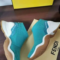 FENDI 2020 New Female Fashion Casual Sneaker sport running Shoes sock boots Best quality blue