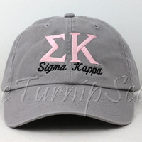 Sigma Kappa Sorority Baseball Cap - Custom Color Hat and Embroidery.