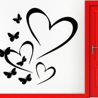 Wall Sticker Vinyl Decal Heart And Butterfly Love Romantic Decor Bedroom Unique Gift (z1111)