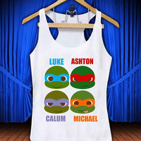 5 Second Of Summer Ninja Turtles #thetengtop for Tank Top Mens and Tank Top Girls custom