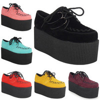 WOMENS LADIES LACE UP FAUX SUEDE GOTH HIGH TRIPLE PLATFORM CREEPERS SHOES SZ 3-8