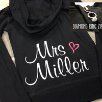 Personalized Bride Zip Up Hoodie