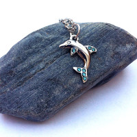 Little silver dolphin with blue rhinestones necklace, dolphin necklace, nautical necklace, silver  necklace, beach necklace, dolphin pendant