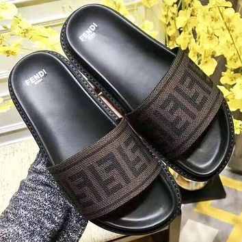 Bunchsun Fendi New Fashion More Letter Flip Flop Slippers Shoes