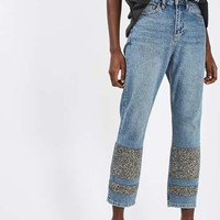 MOTO Limited Edition Stone Encrusted Straight Leg Jeans - Jeans - Clothing