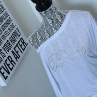 BRIDAL accessories for her honeymoon, bachlorette party, Wifey, Mrs, Bridal shirt, Off the shoulder plus size bride