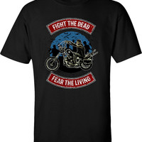 Fight the Dead Fear the Living Zombies Apocalypse T-Shirt Walking Walkers Shirt tee Shirt Mens Ladies Womens Youth Kids MLG-1272