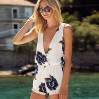 Amazon's casual summer white European and American big flower printed piece pants jumpsuit burst models