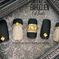 Matte Black & Gold Negative Space Nail Art | Stay In Trend | Made To Order - DIY Fake Nails | False Nails | Press ons | Glue On Nails Tips