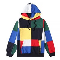 yizlo suprem hoodies for men women hoodie streetwear hip hop harajuku big colorful plaid sweatshirt