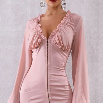 Wishing For You Pink Chiffon Satin Long Lantern Sleeve Ruffle V Neck Bodycon Mini Dress