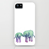 Baby Elephant Love - ombre mint & purple iPhone & iPod Case by Perrin Le Feuvre