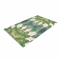 """Art Love Passion """"Forest Leaves"""" Green Teal Celtic AbstractWoven Area Rug"""