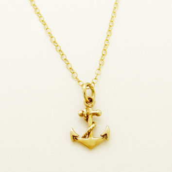 Tiny Gold Anchor Charm Necklace, 14K Gold Filled Chain, Solid Bronze Anchor with Rope, Nautical Jewelry, Sailing, Necklace for Layering