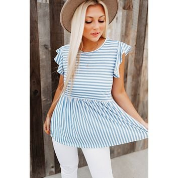 Pep In Your Step Striped Top (Blue/Ivory)