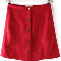 Red Buttons A Line Mini Skirt
