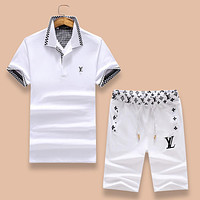LV Louis Vuitton 2018 summer new wave men's slim fashion short-sleeved shorts two-piece F-A00FS-GJ White