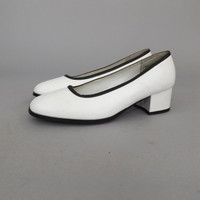 Size 9.5 Vintage 1990s does 60s GoGo Shoes Black White Mod Platform Patent Leather Pumps Chunky Heel High Heel Disco Shoes Retro Mixed Blues