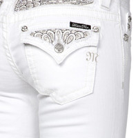 Miss Me Peacock Feather Insert Boot Cut Jeans