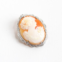 Antique Sterling Art Deco 10k White Gold Carved Shell Cameo Brooch - Vintage Art Deco 1920s Carved Silhouette Filigree Fine Jewelry Pin