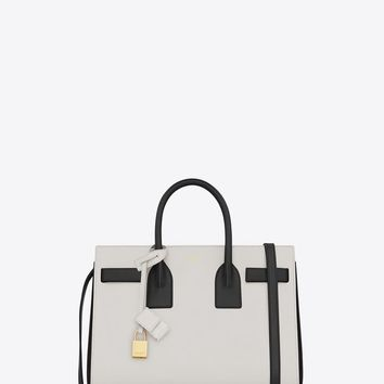 Saint Laurent Classic Small Sac De Jour Bag In Chalk And Black Leather | ysl.com